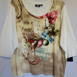 Onque Cream Holiday Top Size 2X